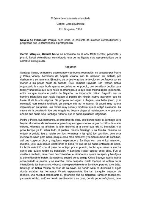 Calaméo - Reseña De Cronica De Una Muerte Anunciada