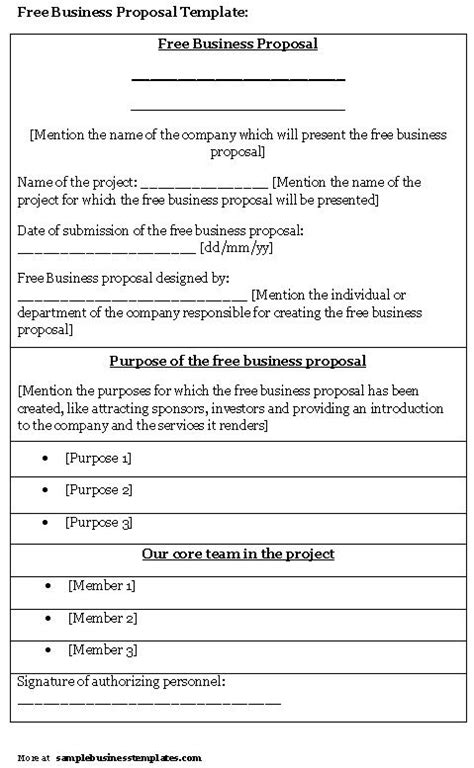 free business proposal template sle business templates