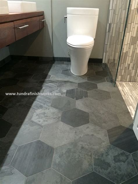 large slate hexagon tiled floor eclectic bathroom minneapolis by tundra finish works llc