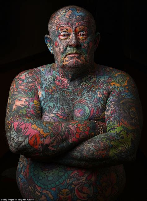 eyeball tattoo melbourne man covers every inch of his body in tattoos even his