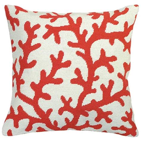 coral needlepoint pillow 18 x 18 pillow 123creations
