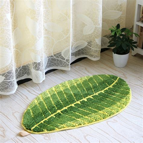 45 X 75cm Comfortable Leaf Shape Bathroom Rugs Machine Machine Washable Bathroom Rugs