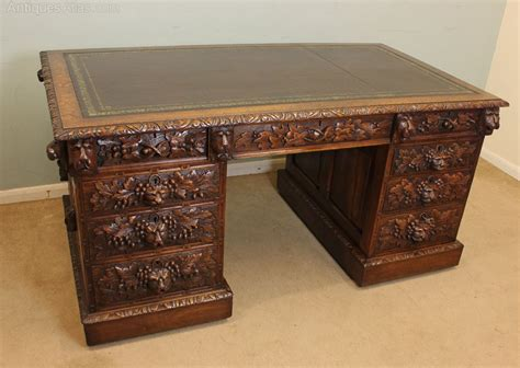 Carved Oak Kneehole Pedestal Writing Desk Antiques Atlas Carved Desk