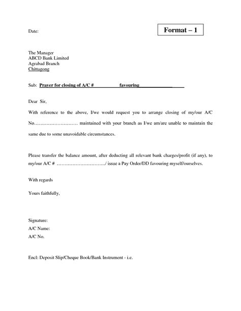Closing Bank Account Template Letter