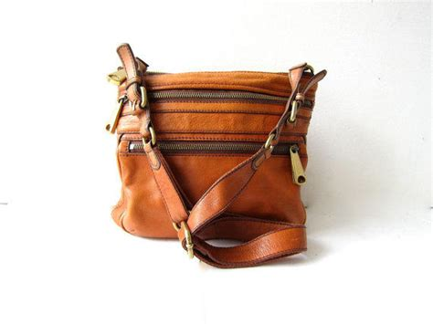 Fossil Tote Fringe Tas Fossil Kutil Brown Leather Ori vintage fossil purse crossbody shoulder from birdies