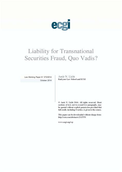 securities regulation liabilities and remedies corporate securities series books liability for transnational securities fraud quo vadis