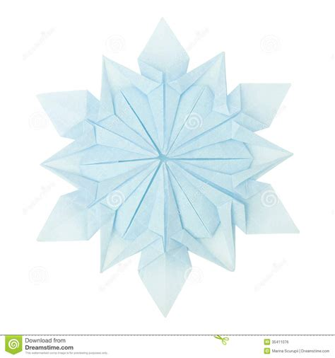 Snow Origami - origami snowflake stock photo image of space pattern