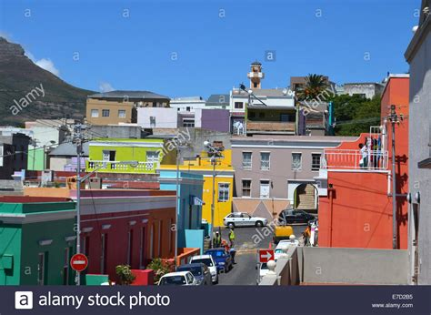 houses to buy in cape town brightly coloured houses in bo kaap muslim community in cape town stock photo
