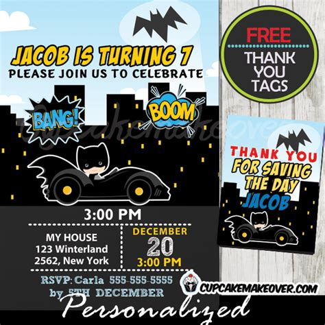 printable birthday invitations batman bat boy birthday invitation personalized d10