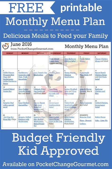 printable budget recipes june menu plan 2016 pocket change gourmet
