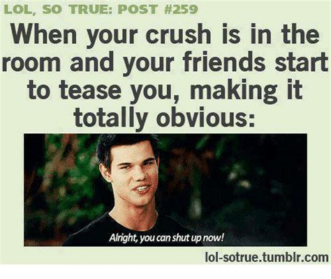 So True Memes - lol so true post 259 when your crush is in the room and your friends start to tease you making