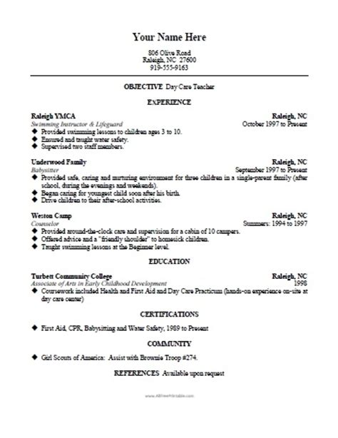 Sample Resume For Preschool Teacher Assistant