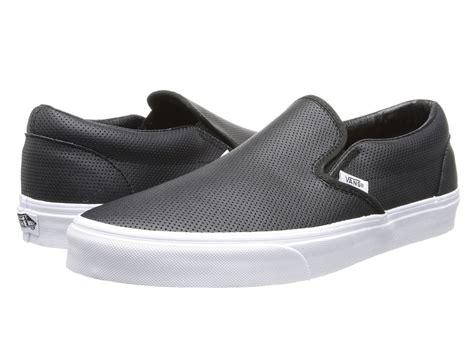 slip on vans classic slip on perf leather black zappos