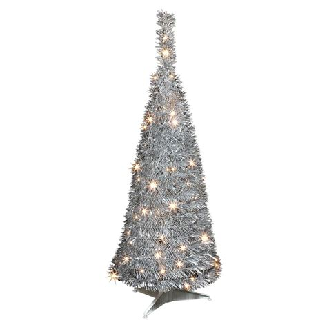 silver popup tree pre lit pop up tree tinsel tree 3ft black or silver ebay