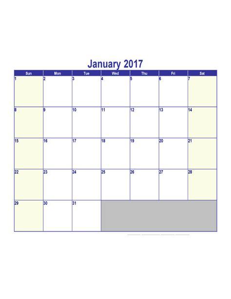 Calendar January 2017 January 2017 Calendar Free