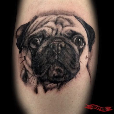 pug tattoos black grey pug tattoos on legs pug picture