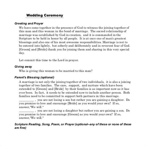 Wedding Ceremony Layout Template by 19 Wedding Ceremony Templates Free Sle Exle