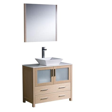 Oak Vanity Light Fresca Torino 36 In Vanity In Light Oak With Glass Vanity Top In White With White Basin