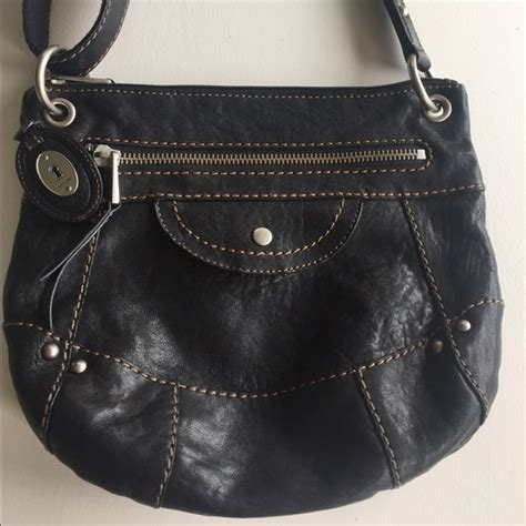 Fossil Crossbody Black fossil fossil crossbody purse quot black leather liberty