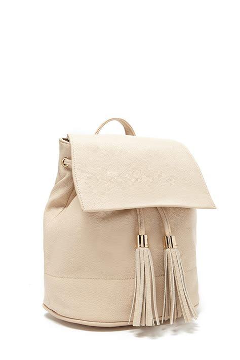 Faux Leather Tasseled Shoulder Bag forever 21 tasseled faux leather backpack lyst