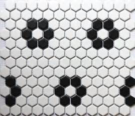 sicis black white hexagonal ceramic mosaic tile kitchen