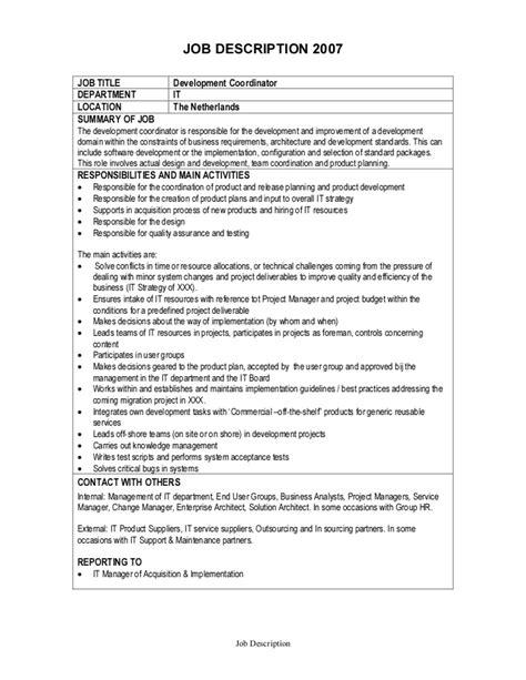 Mba Healthcare Management Description by Description Development Coordinator