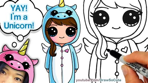 i sew cute and draw how to draw cute girl in unicorn onesie easy youtube