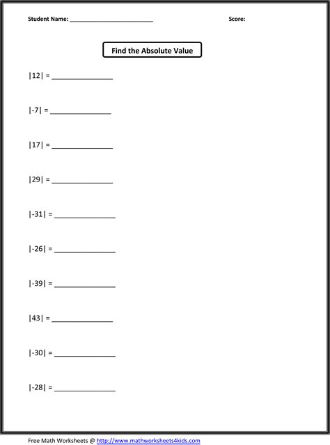 printable math worksheets absolute value 14 best images of absolute value problems worksheet