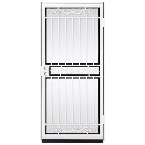Glass Security Door Unique Home Designs 36 In X 80 In Sylvan White Surface Mount Outswing Steel Security Door With