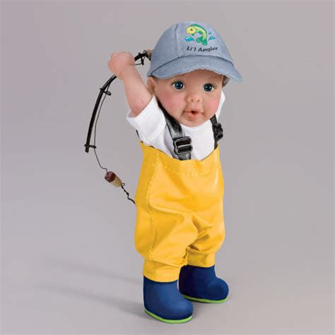 figure fishing hooked on fishing baby boy fishing rod figure doll by