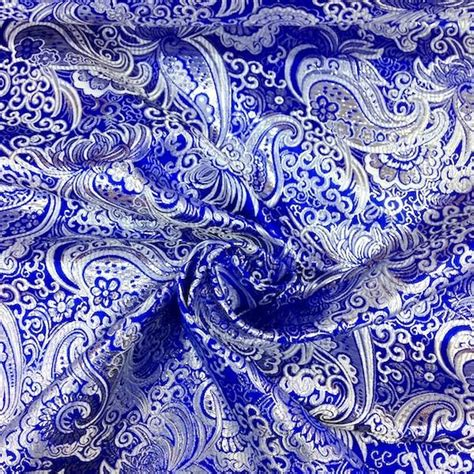 40486 Brocade Lace Knit royal blue silver paisley brocade fabric fabric wholesale direct