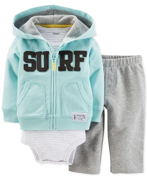S 3 Babyboy Bodysuit And Pant Set Cs074 s baby boys 3 hoodie bodysuit set grandbabies carters