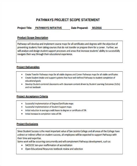 project objective statement exle 7 scope statement exles sles pdf