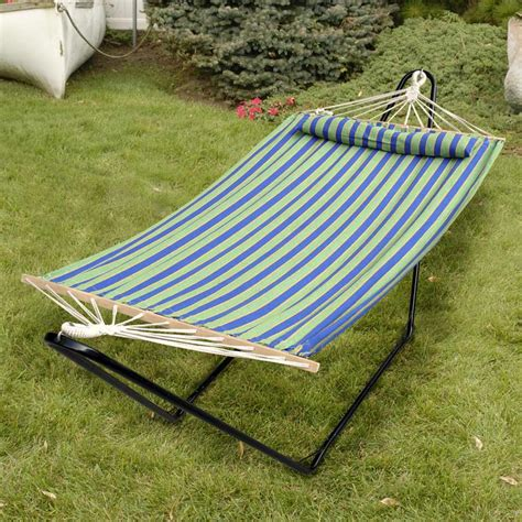 Hammock With Pillow blue and green striped bliss hammock with pillow