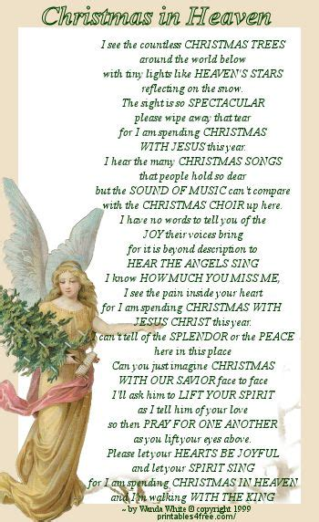 printable christmas in heaven poem pin by teresa rickard parish on christmas pinterest