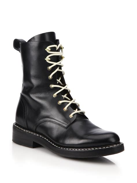 black leather combat boots for rag bone emil leather combat boots in black lyst