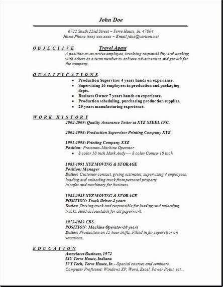 Resume Travel Objective by Travel Resume Occupational Exles Sles Free