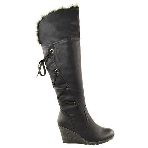 high heel fur boots womens mid wedge high heel fur lined warm winter