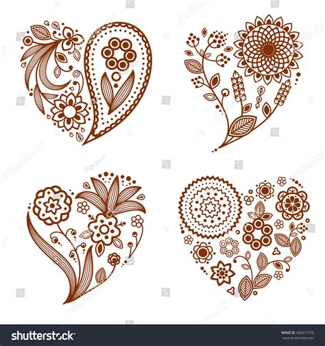 henna tattoo vector henna ornamental hearts mehndi style four stock