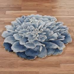 geena blue flower shaped wool rugs