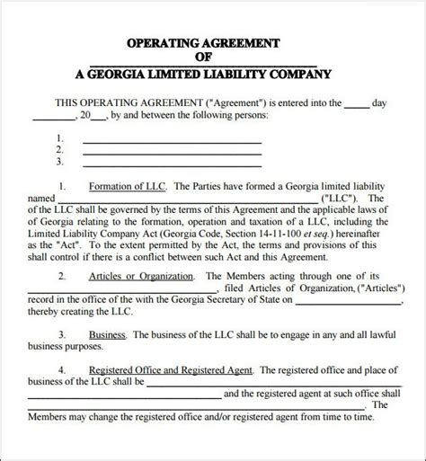 michigan llc operating agreement template articles of organization template pictures