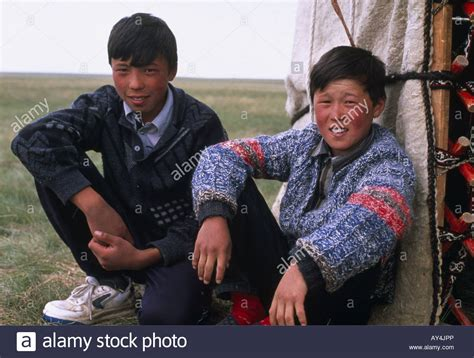 jpp young boys boys in front of a yurt kirgizia stock photo royalty
