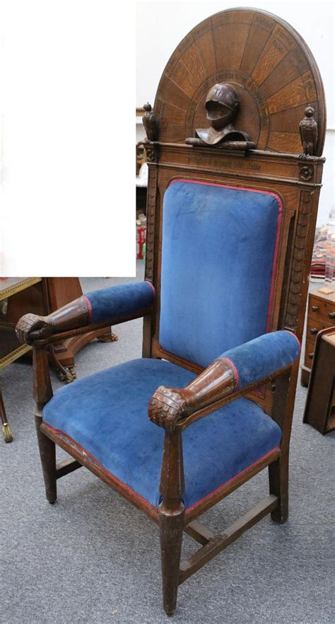 Knights Furniture by A Large Oak Throne Chair Carved And Inlaid With Knights Nam