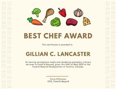 chef certificate template certificate templates canva
