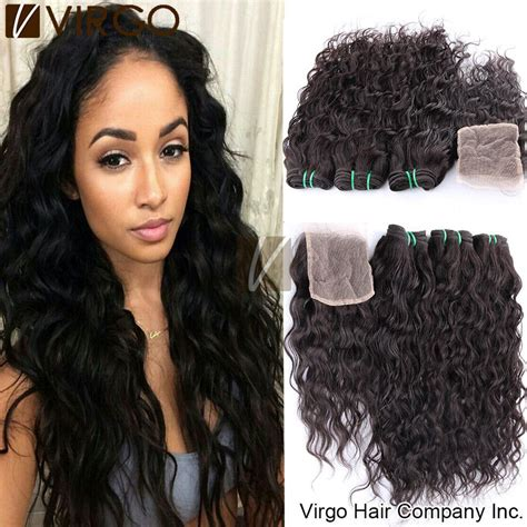 brazilian virgin hair water wave with lace closure