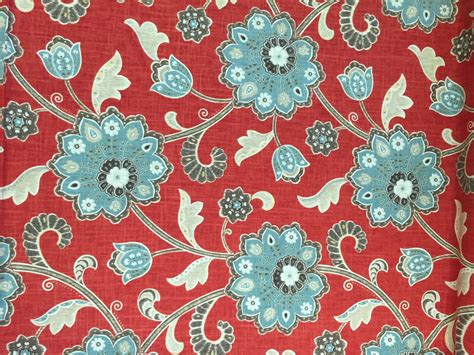 Modern Floral Upholstery Fabric by Modern Floral Magnolia Fabric Linen With Blue Floral