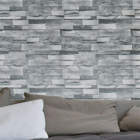 brick wallpaper grey living room aliexpress com buy haokhome modern faux brick wallpaper
