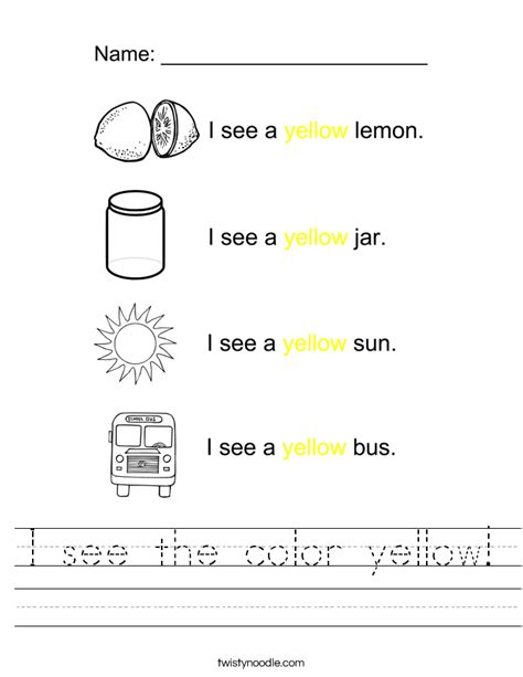 yellow color activity sheet repinned by totetude com color yellow worksheets wiildcreative