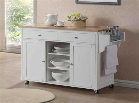small kitchen island on wheels in white finish