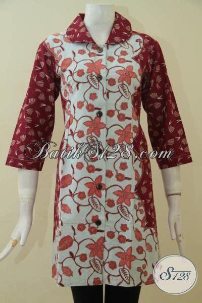 Baju Putih Batik baju dress batik cap tulis warna merah kombinasi putih pakaian batik dual motif istimewa untuk